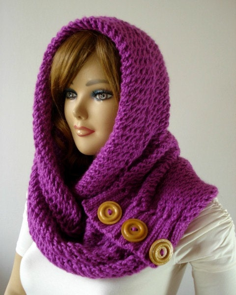 Knit Cowl Hood Pattern Free : KNITTING PATTERN HOODED Cowl Scarf LouLou Kiss Hood scarf