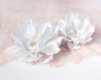 71411_White flower clip, Flower barrette, Big flower, Hair flower, Flowers for hair, Hair accessories, Fabric flower hair Bridal hair flower