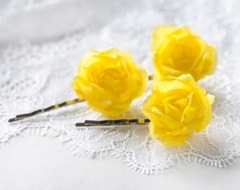 71_Yellow hair pins, Roses, Hair accessories rose, Flower hair pins, Hair pins, Rose bobby pin, Hair pin flower, Wedding hair piece, Bridal.