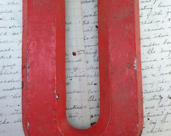 "Industrial Red Metal Marquee letter U - Vintage Aluminum marquee sign letter  - Assemblage supply - Heavy Worn chippy distressed  9"" tall"