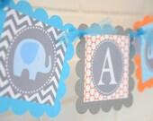 It's a Boy Elephant banner, Elephant baby shower, elephant banner, blue, grey, orange