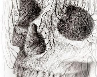 "Martinefa's original drawing - "" Heart and skull """