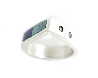 Teardrop Inlay Ring with Turquoise, Lapis and Diamond - Cubic Zirconia - Boho Inlay Ring -Modern Southwest Ring -Turquoise Inlay Ring Unique