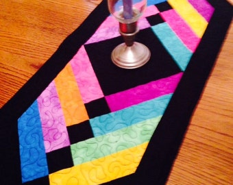 Quilted Table Runner Black and multi colors  Rectangle