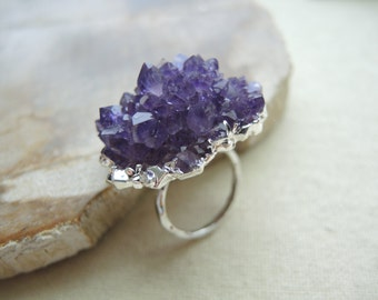 Druzy Ring, AAA Grade Rose Amethyst Druzy Jewelry, Sterling Silver Ring, Amethyst Ring, February Birthstone, Amethyst Jewelry Gift For Her