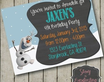 Frozen Olaf Birthday Invitation - Digital File - DIY - Printable Invitation