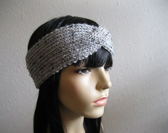 Knitted Headband, Knitted Earwarmer, Gray Marble Tweed, Womens Cabled Headband, Womens Headband - Ready to Ship
