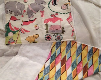 Circus and Harlequin Burp Cloth Set