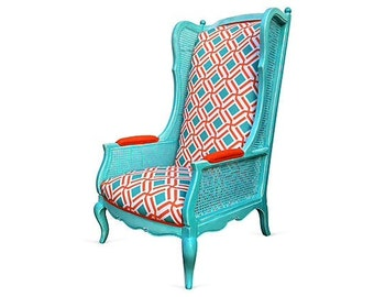 Vintage French High Back Accent Lounge Chair Cane Bamboo Custom Aqua Orange Upholstered Painted Wash Colorful Beach Seaside Style Decor