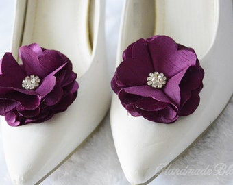 Plum Flower Shoe Clips, Bridal Shoe Clips, Wedding Silk Flower, Purple Clips, Shoe Accessories, Flower for Shoes, Purple Shoe Clips