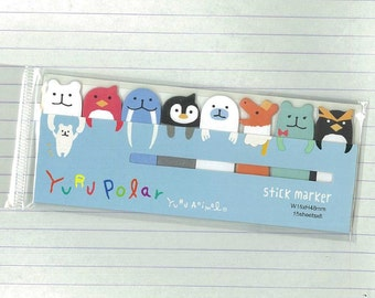 Stick marker - Polar animal sticky note, Colorful stick & memo marker, Post-it Sticker Marker Tabs Cute Stationery Supplies 35088