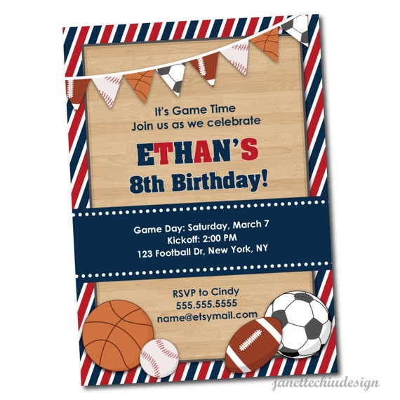 Sports Banner Birthday Party Invitation Digital Printable Any