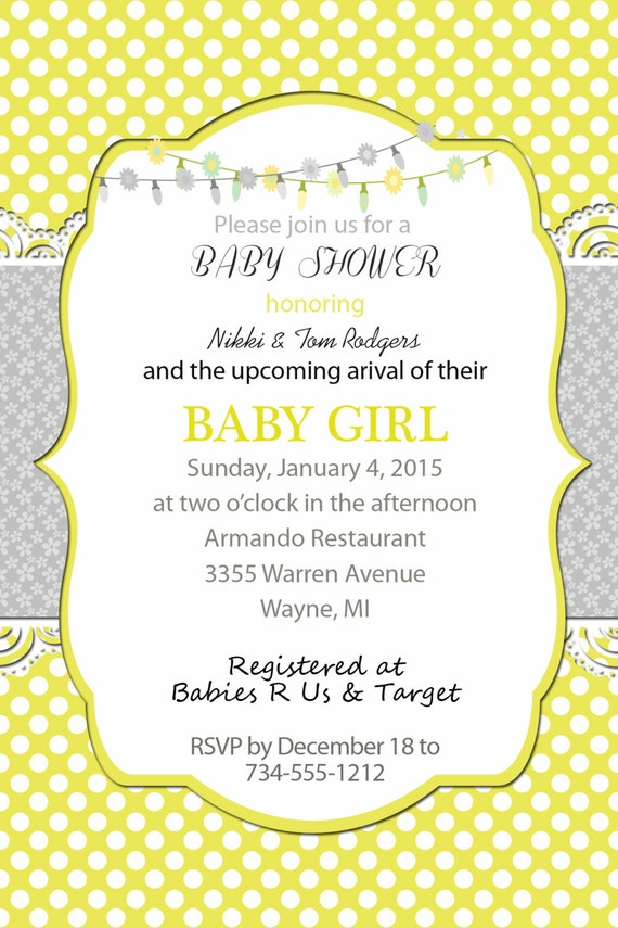 yellow and gray baby shower invitation front and back polka dots