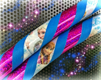 Anna Frozen  Dance & Exercise Hula Hoop COLLAPSIBLE Polypro, HDPE, beginner, advanced, or weighted - fuchsia Disney blue kid hoop
