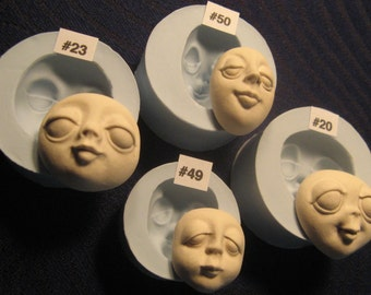 YOUR CHOICE - Soft Flexible Food Grade Silicone Push Press Mold Mould of Doll Face Female Cab