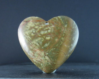 Heart shape picture jasper cabochon, Semiprecious stone, Jewelry making supplies S4295