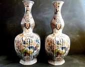 Antique Large Delft Polychrome Double Gourd Vases marked APK circa 1880s .