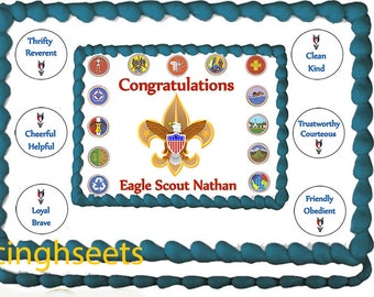 Eagle Scout Boy ranks Edible icing custom cake  transfer decal  decorations frosting top 1/2 sheet set up 4