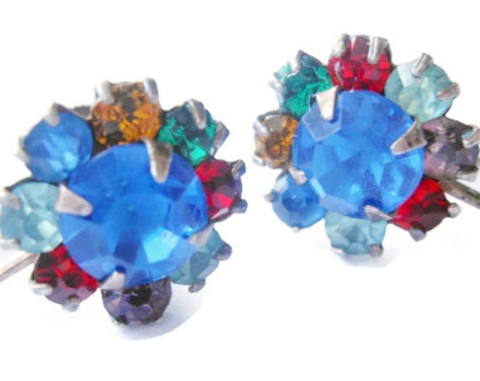 FREE SHIPPING R.L. Griffith earrings, sterling silver, multi-colored, prong set rhinestone earrings, signed and marked sterling