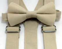 On Sale: Champagne Suspenders and Champagne Bow Tie. Bridal Color Champagne. Sizes Infant-Adult. Free Shipping Offer.  Custom Fit Available.
