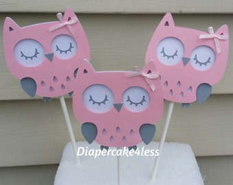 """3 Owls cake, diaper cake topper, centerpiece or party decoration 4.5"""""""