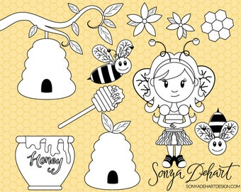 80% OFF Sale Digital Stamp, Bee Clipart, Bee Clip Art, Honey Clipart, Girl Clip Art, Honeycomb Clipart, CA206
