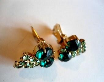 Dark Green Earring Clips in Goldtone Mid Century Circa. 1950s