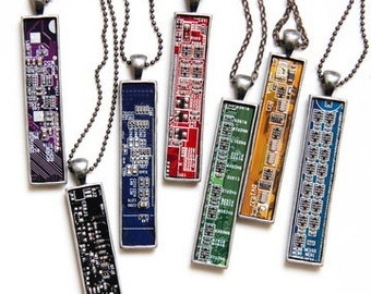 Techie necklace - Circuit board necklace - geekery - recycled computer motherboard