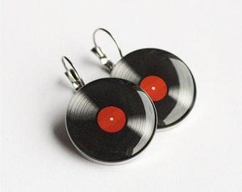 Vinyl Record earrings, surgical steel earrings, LP retro earring, French clip earring, Leverback earring, dangle earring