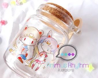 Sailor Moon: Usagi and Chibiusa Glass Jar with Cork lid & wooden spoon