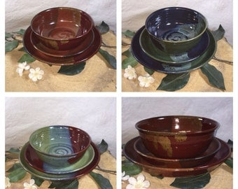 Custom Dinner Ware Place Setting-Your Choice of Color-Dinner Plate, Salad Plate and Soup Bowl- ceramics - pottery - stoneware