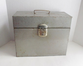 Vintage Industrial Tin Box Climax Metal File Box