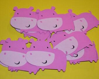 "Pink Hippo Die Cuts (12) 2"""