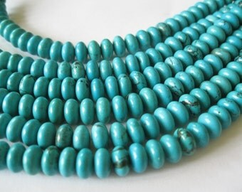 Turquoise Look Rondelle Beads 8 X 5mm Medium Green Blue 26 Beads