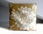 Gold cushion cover, floral cushion, 16x16