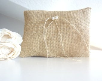 Bridal pillow, Ring pillow, ring cushion, natural burlap bridal pillow for ring bearer with pearls decoration