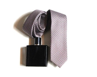 Geometric Grey and Dusty Rose Necktie Business Casual Executive Accessories Gift for Dad