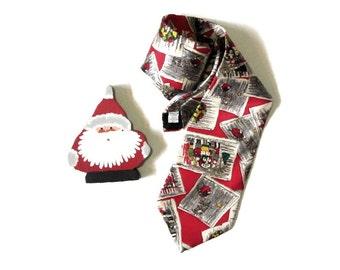 Wembley Silk Christmas Necktie Holiday Scenes Tie Carolers Santa's Sleigh and Reindeer
