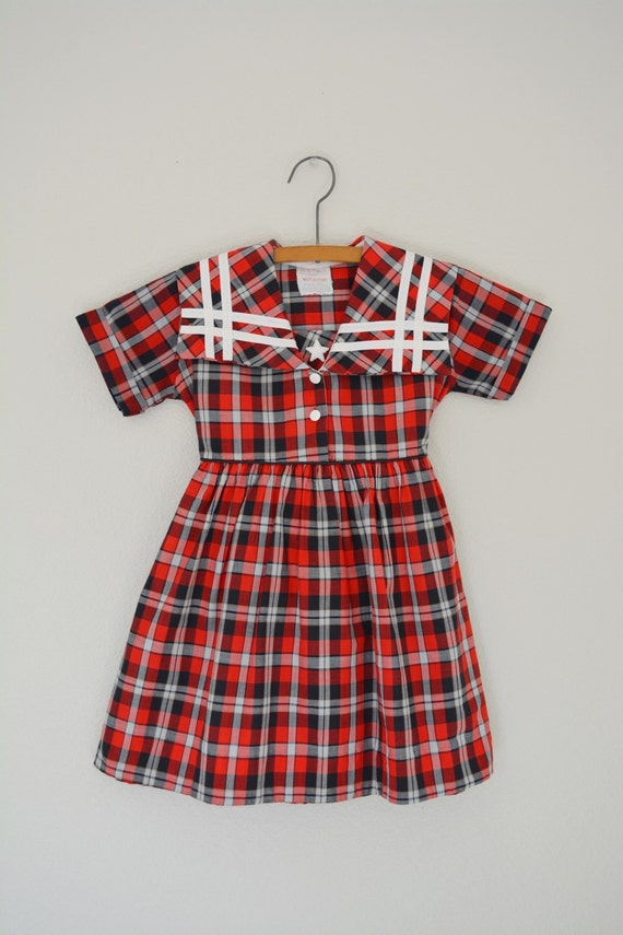 Vintage 1950's Nautical Dress // 50's Plaid Toddler Girls Dress // Frock