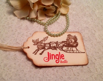 Handmade Holiday and Seasonal Tags and Favors-Jingle Bell Tags and Paper Goods-Tags and Labels-Set of 12
