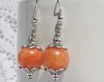 Peach Jade Earrings -- Peach Earrings, Gemstone Earrings, Dangle Earrings, Beaded Earrings