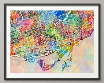 Toronto City Map, Ontario Canada, Art Print (1344)