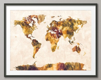 Map of the World Map Watercolor Painting, Art Print (1425)