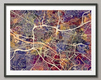 Glasgow Map, Scotland, Glasgow City Street Map Art Print (1545)