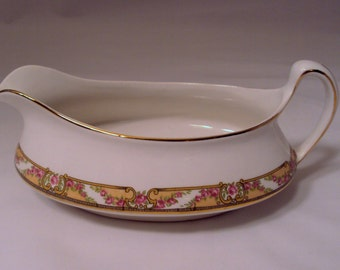 Homer Laughlin China Empress Pink Roses Gold Trim Gravy Boat Sauce Pitcher