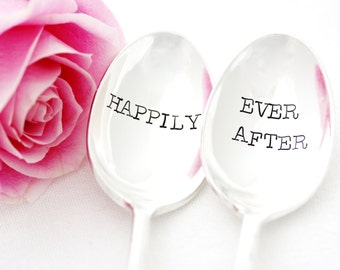 Table Setting, Happily Ever After flatware, wedding spoons, Hand stamped silverware.