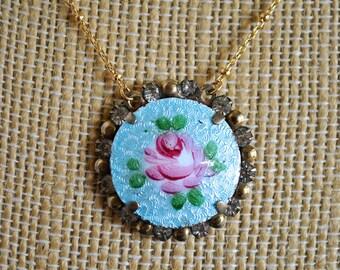 VINTAGE GUILLOCHE ROSE necklace