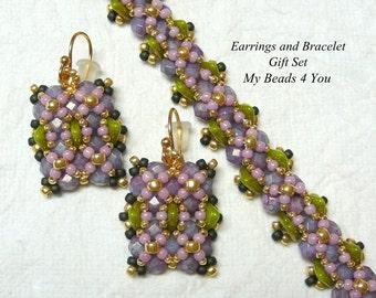 Beaded Earrings,Beaded Bracelet,Beadework Jewelry,Beading Pattern,Holiday Gift,Jewerly Set,MyBeads4You,Green Bracelet,Lavender Bracelet