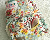One-size Organic Cotton Knit + Sherpa + Bamboo Fitted Cloth Diaper - Birch Organics Frolic Print