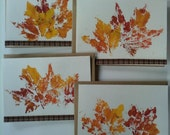 Set of Four Stamped Fall Leaf Cards and Envelopes